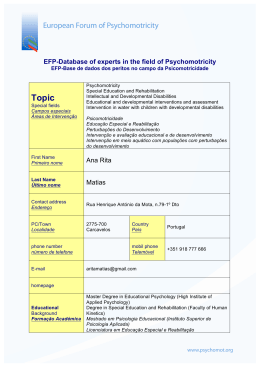 EFP-Database of experts in the field of Psychomotricity Ana Rita