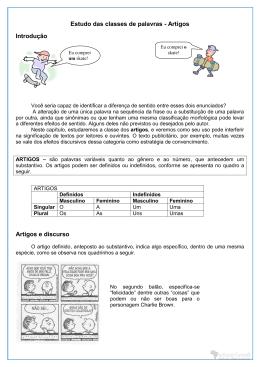 Estudo das classes de palavras - Artigos Introdução Artigos e