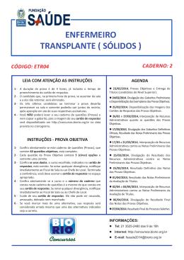 ETR04 - Enfermeiro - Transplante (sólidos)