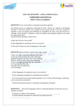 LISTA DE LÍNGUA PORTUGUESA-VARIEDADES LINGUÍSTICAS