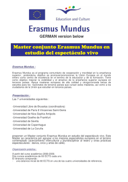 Información - Erasmus Mundus in Performing Arts Studies