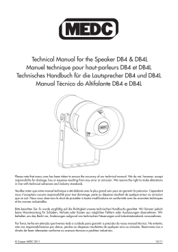Technical Manual for the Speaker DB4 & DB4L