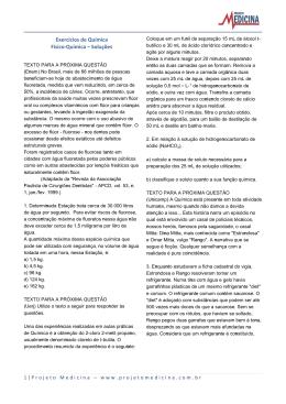 Exercícios de Química Físico-Química – Soluções