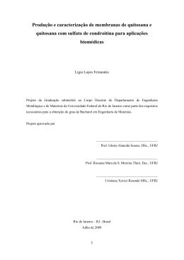 Produção e caracterização de membranas de