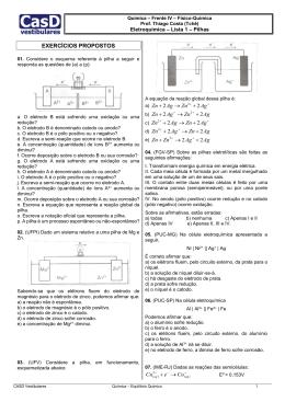 Lista Eletroquímica 1 - Pilhas