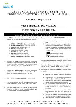 VESTIBULAR DE VERÃO - FPP - Faculdades Pequeno Príncipe