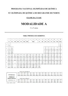 MODALIDADE A - Olimpíada de Química do Rio Grande do Norte