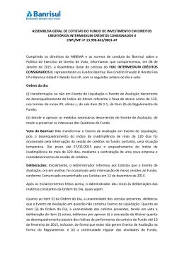 ASSEMBLEIA GERAL DE COTISTAS DO FUNDO DE