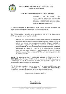 LEI Nº 445-2013 - Reajusta a TARIFA do SAAE NEPOMUCENO