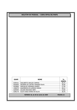 BOLETIM DE PESSOAL – CGRH/SPOA/SE/MAPA