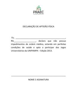 DECLARAÇÃO DE APTIDÃO FÍSICA Eu