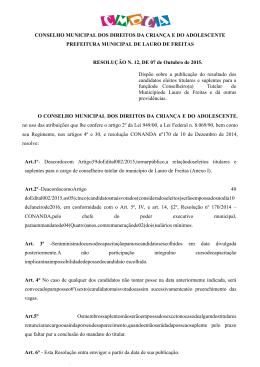 CONSELHO MUNICIPAL DOS DIREITOS DA CRIANÇA E DO