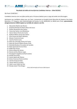 Resultado da Análise da Inscrição dos Candidatos Internos – Edital