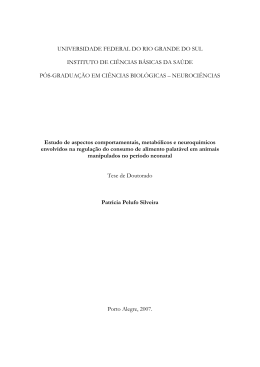 Estudo de aspectos comportamentais, metabólicos e neuroquímicos