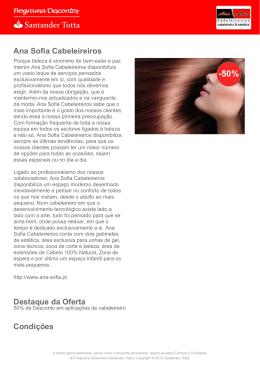 Ana Sofia Cabeleireiros - Santander Totta Descontos