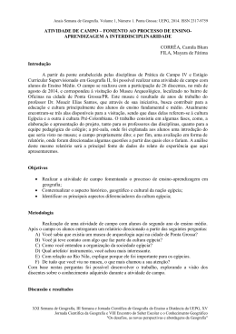 ATIVIDADE DE CAMPO – FOMENTO AO PROCESSO DE ENSINO