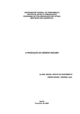 resumo - Universidade Federal de Pernambuco
