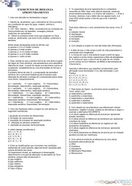 EXERCÍCIOS DE BIOLOGIA APROFUNDAMENTO