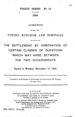 united kingdom and portugal the settlement by arbitration of certain