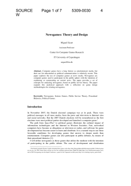 Newsgames: Theory and Design
