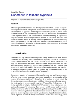 Coherence in text and hypertext