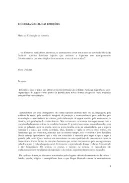 1 BIOLOGIA SOCIAL DAS EMOÇÕES Maria da Conceição