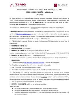 CURSO PARA OFICIAIS DE JUSTIÇA AVALIADORES DO TJMG