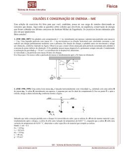 COLISÕES E CONSERVAÇÃO DE ENERGIA - IME