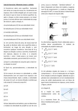 Lista de Exercícios: Momento Linear e colisões 1