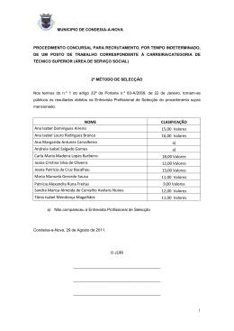 NOME CLASIFICAÇÃO Ana Isabel Domingues Arieiro 15,00