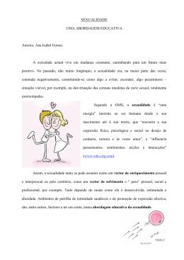 SEXUALIDADE UMA ABORDAGEM EDUCATIVA Autoria: Ana