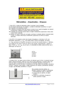 Hidrostática – Arquimedes – Empuxo