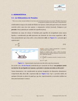 3. HIDROSTÁTICA 3.1. Lei Hidrostática de Pressões dA dF p = pdA pA
