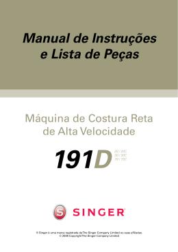 Singer 191D Reta | Manual de Instruções e Lista de Peças
