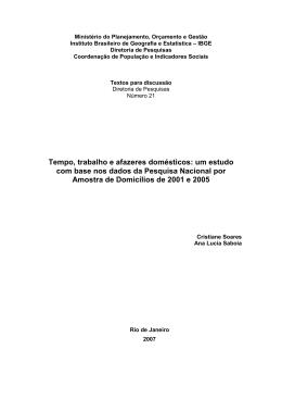 Tempo, trabalho e afazeres domésticos: um estudo com base