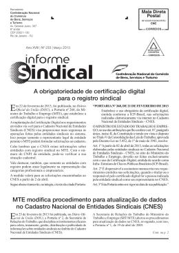 Informe Sindical 233 Março de 2013