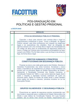 POLÍTICAS E GESTÃO PRISIONAL