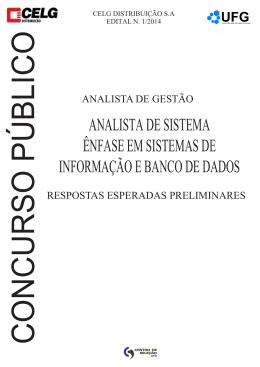 ANALISTA DE SISTEMA ÊNFASE EM SISTEMAS - Vestibular