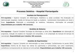 Processo Seletivo - Hospital Florianópolis