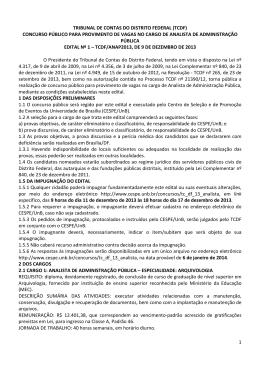Edital - CESPE / UnB - Universidade de Brasília