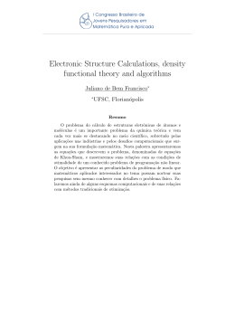 Electronic Structure Calculations, density functional theory and