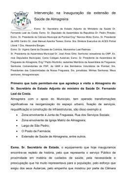 Intervenção na Inauguração da extensão de Saúde de Almagreira
