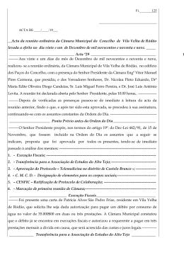 Acta da reunião ordinária da Câmara Municipal do Concelho de