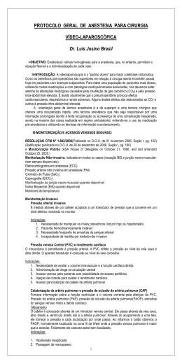 PROTOCOLO GERAL DE ANESTESIA PARA CIRURGIA