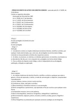 CÓDIGO DO DIREITO DE AUTOR E DOS DIREITOS