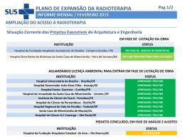 plano de expansão da radioterapia informe mensal / fevereiro 2015