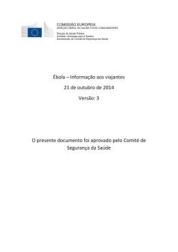 Ébola – Informação aos viajantes 21 de outubro de 2014 Versão: 3