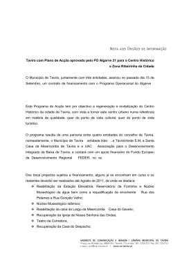 Tavira com Plano de Acção aprovado pelo PO Algarve 21 para o