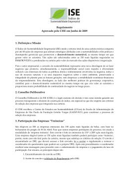 Regulamento Aprovado pelo CISE em Junho de