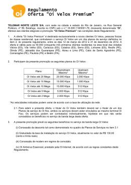 "Regulamento Oferta ""Oi Velox Premium"""